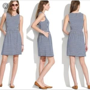 MADEWELL Afternoon navy striped dress